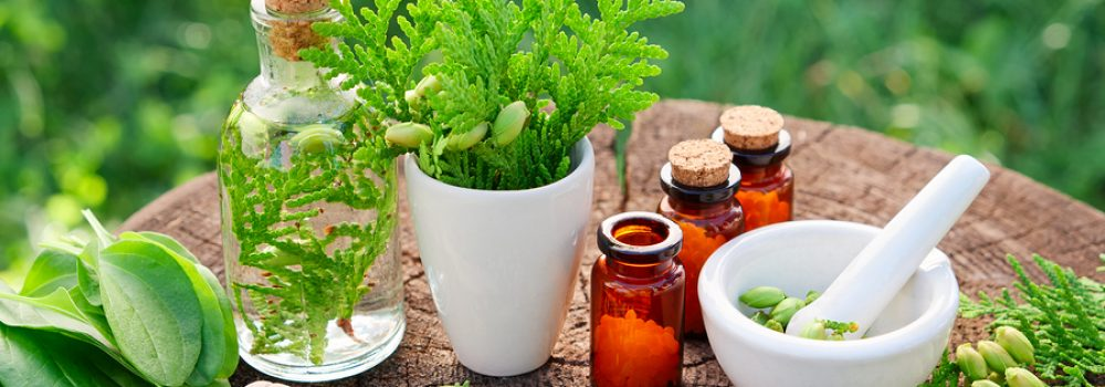 Bottles Of Homeopathic Globules, Thuja Occidentalis, Plantago Ma